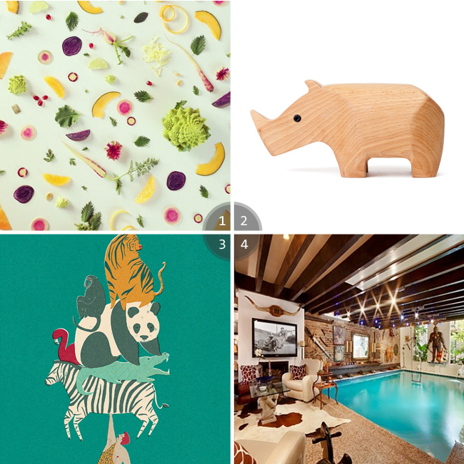 Areaware rhino, manhattan townhouse, food collages an menagerie print